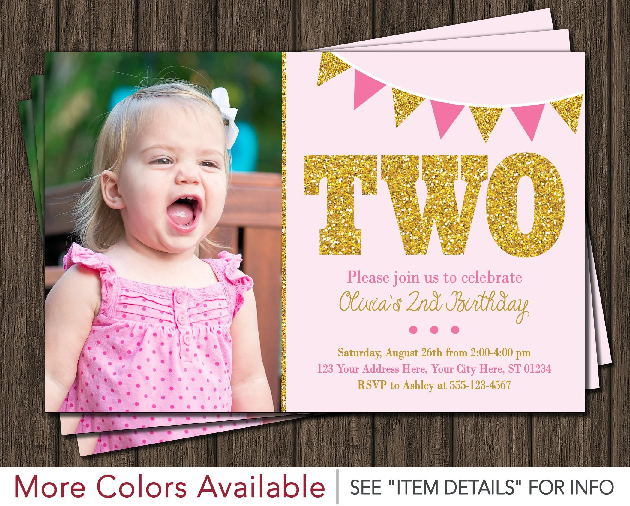 Pink and Gold 2nd Birthday Invitation with Photo Light Pink, Pink