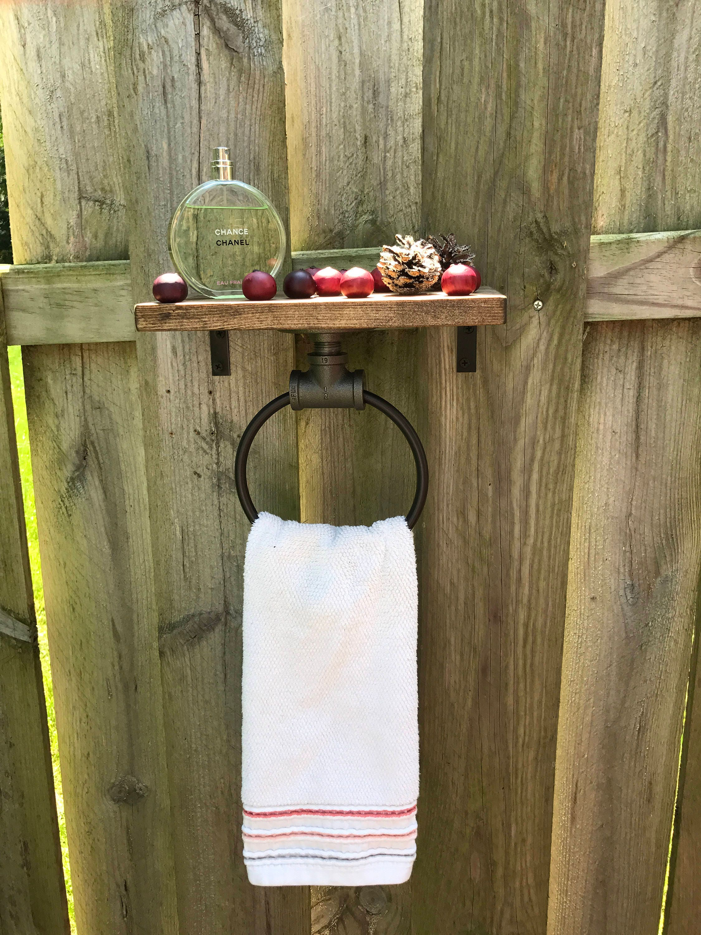 Farmhouse Hand Towel Holder Hand Towel Ring Shelf Bathroom Decor Organizer Wooden Rack