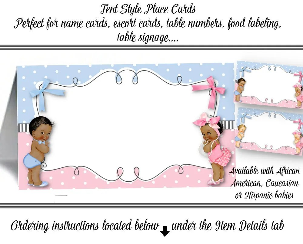 12 Tent Style Place Cards, Baby Shower, Baby Gender Reveal Party