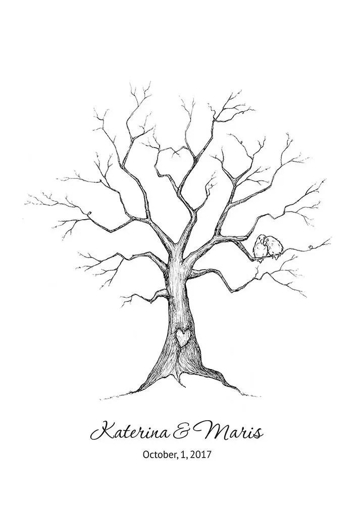 Digital Fingerprint Tree Canvas Wedding Tree Guest Book Birds Hand