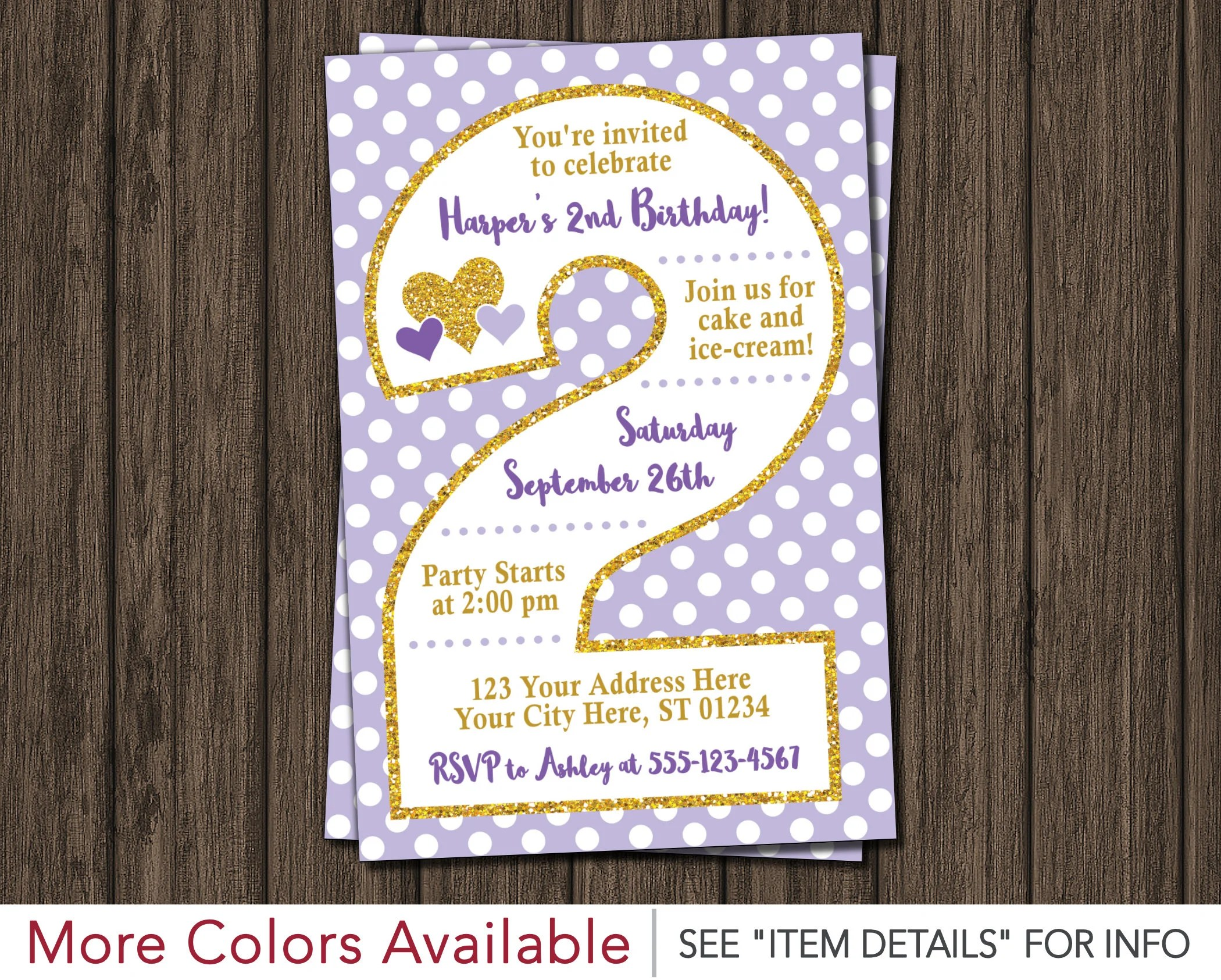 Purple and Gold 2nd Birthday Invitation Lavender and Gold Second