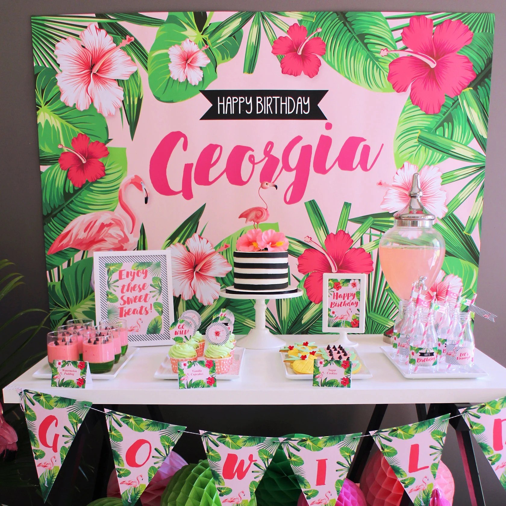 FLAMINGO Backdrop Design for Birthday Party - Tropical Style Beach - birthday party design