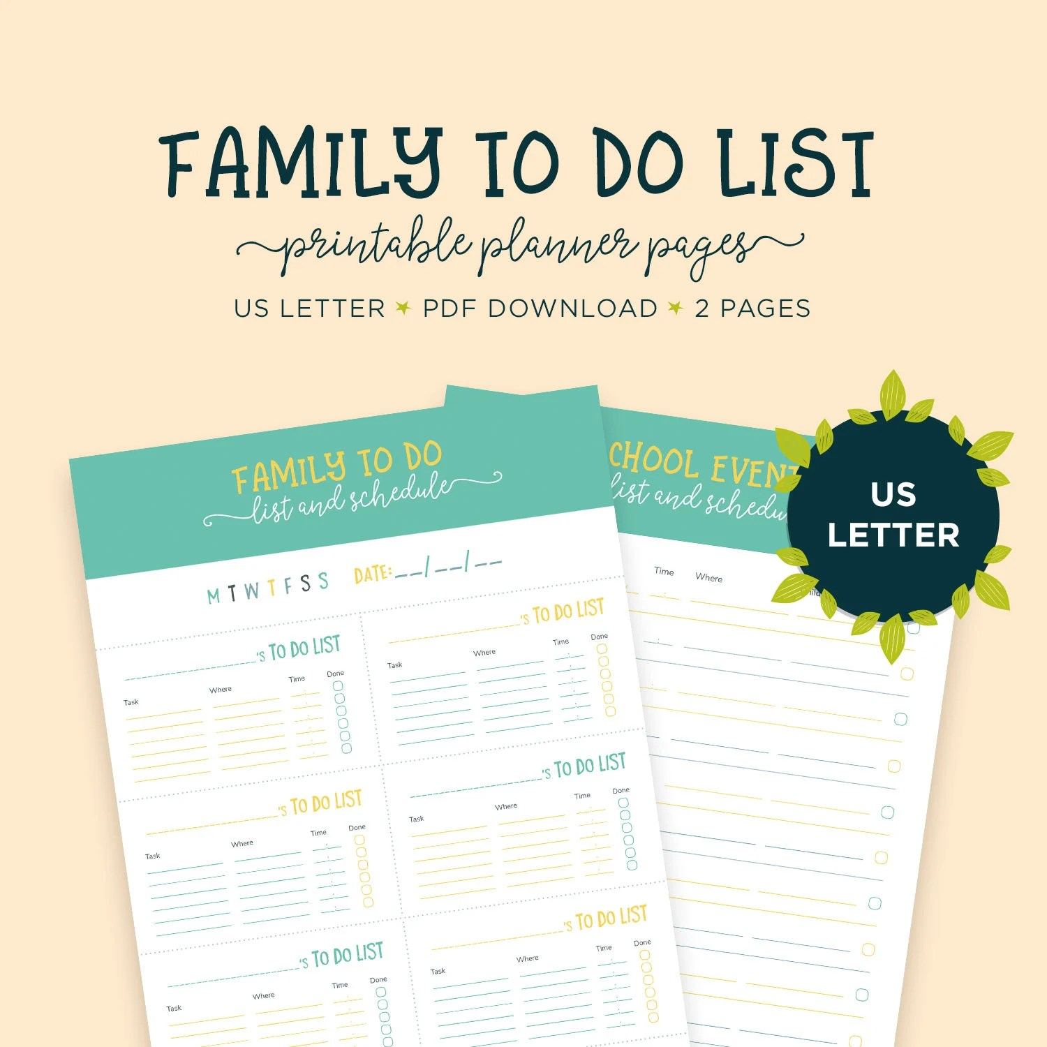 Family Chores Daily Schedule Letter Size Chore Chart Kids