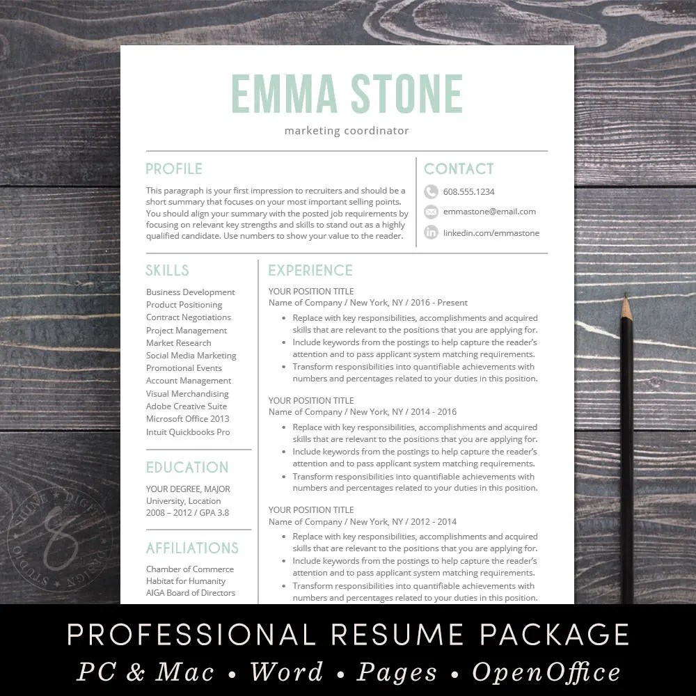 Resume Template Professional and Modern Resume \/ CV Template - instant resume templates