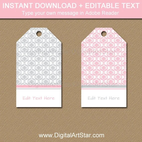 Pink and Gray Baby Shower Thank You Tags, Bridal Shower Favor Tags