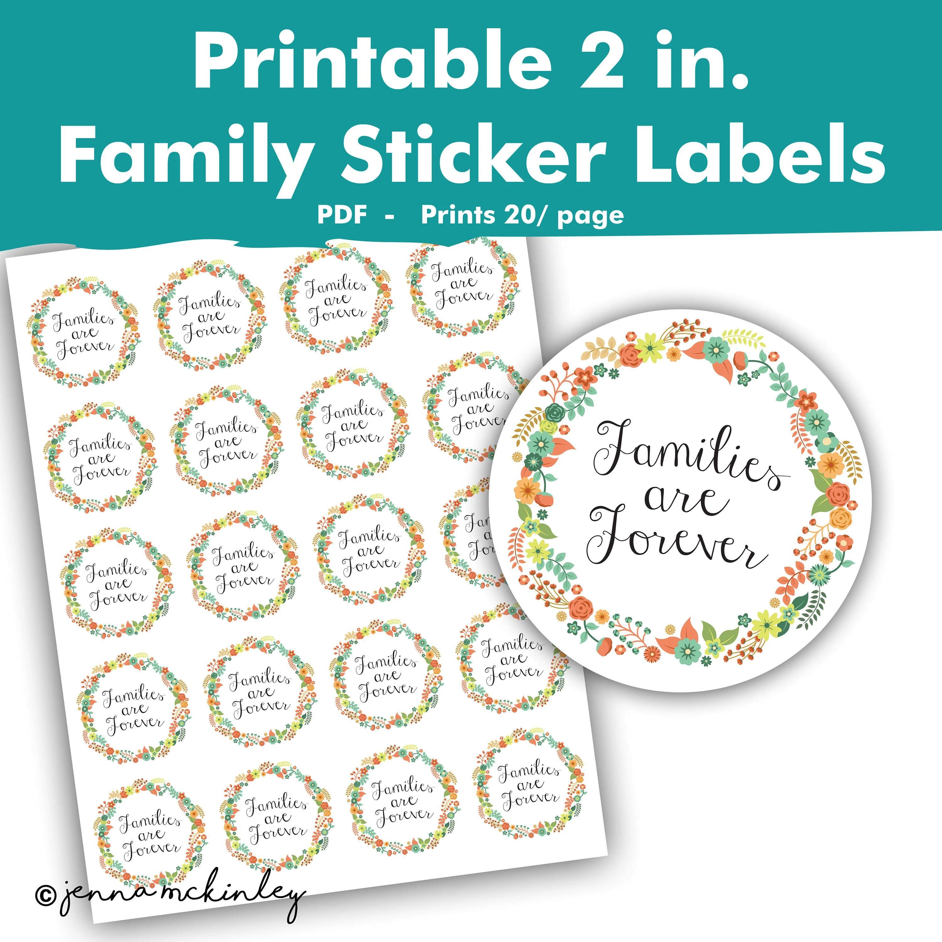 Printable Families are Forever Stickers Girls Camp Wedding New