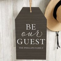 Be Our Guest Personalized Wall Art Wood Tag - FindGift.com