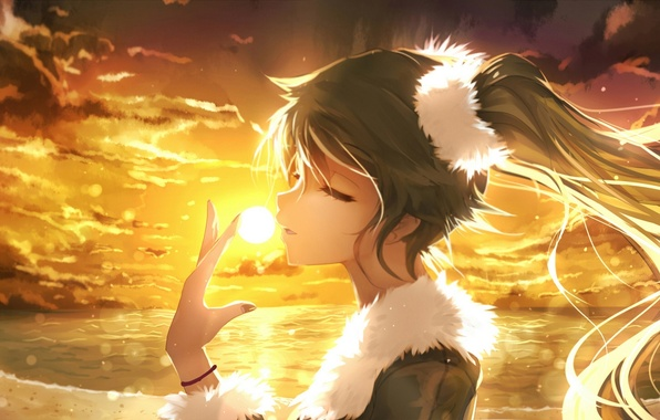 Girl Playing Guitar Hd Wallpapers Wallpaper The Sky Girl The Sun Clouds Sunset Anime