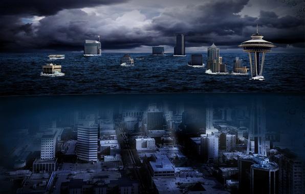 Goodfon Wallpaper Car Wallpaper Sea Night City The City Tower Washington