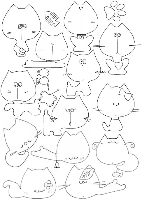 Free Stencils Collection Cat Stencils Stenciling, Cat and - pattern block template