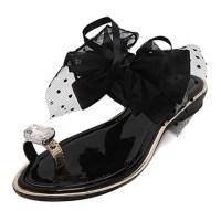 Trendy Open-toe Bow-tie Decorative Low Heel Black PU ...