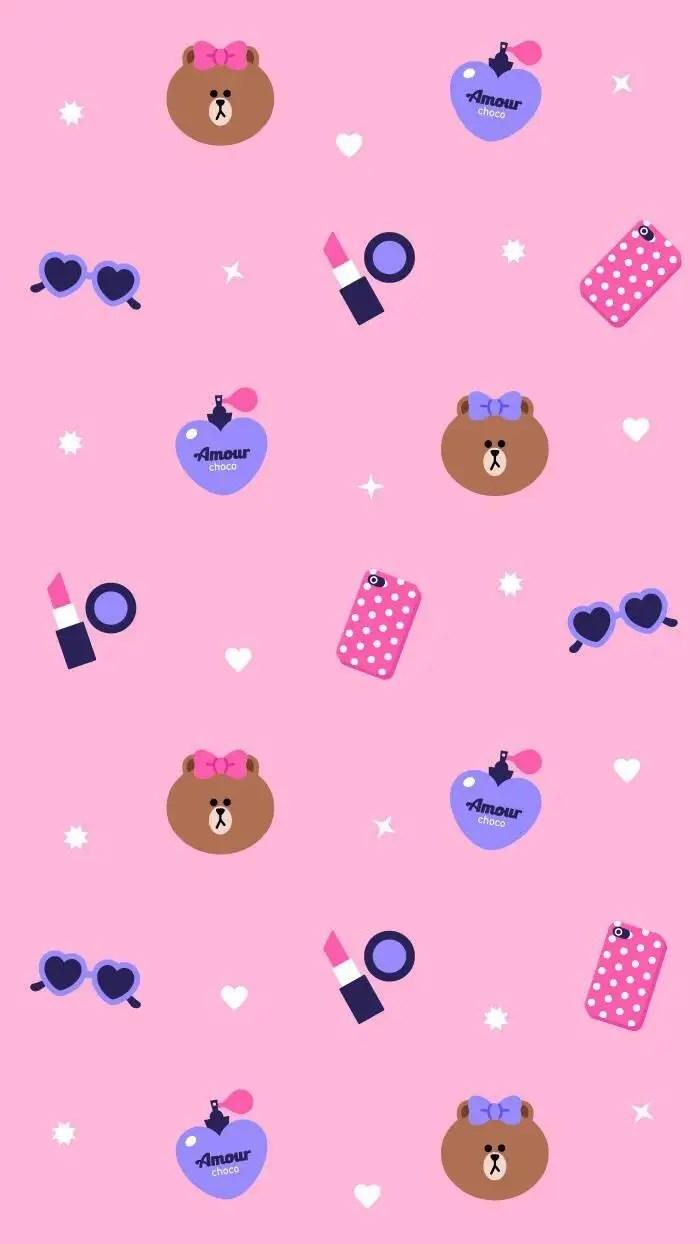 Cute Iphone Wallpaper App Line系列,包括布朗熊、 莎莉鸡和可妮兔