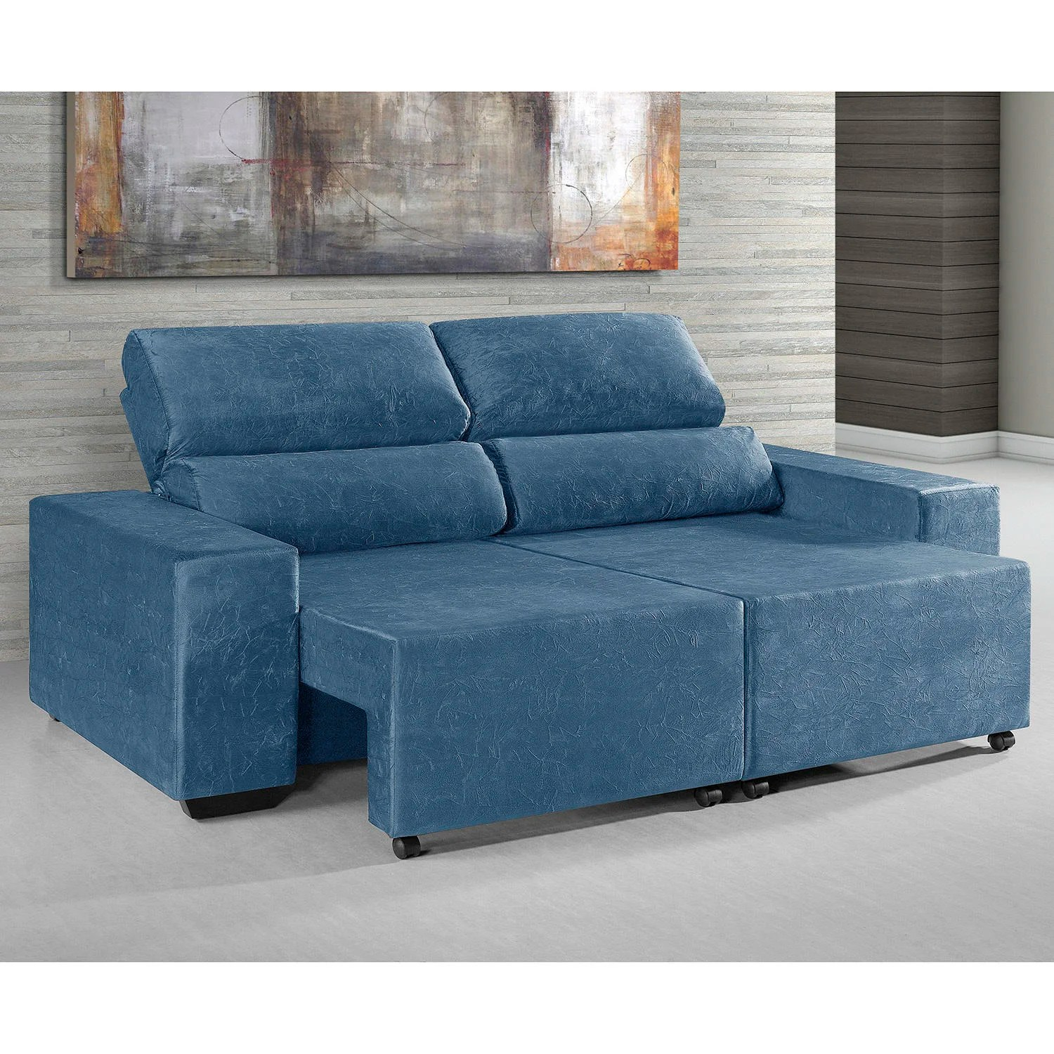 Sofa Retratil E Reclinavel Koerich Sofa Umaflex Azul