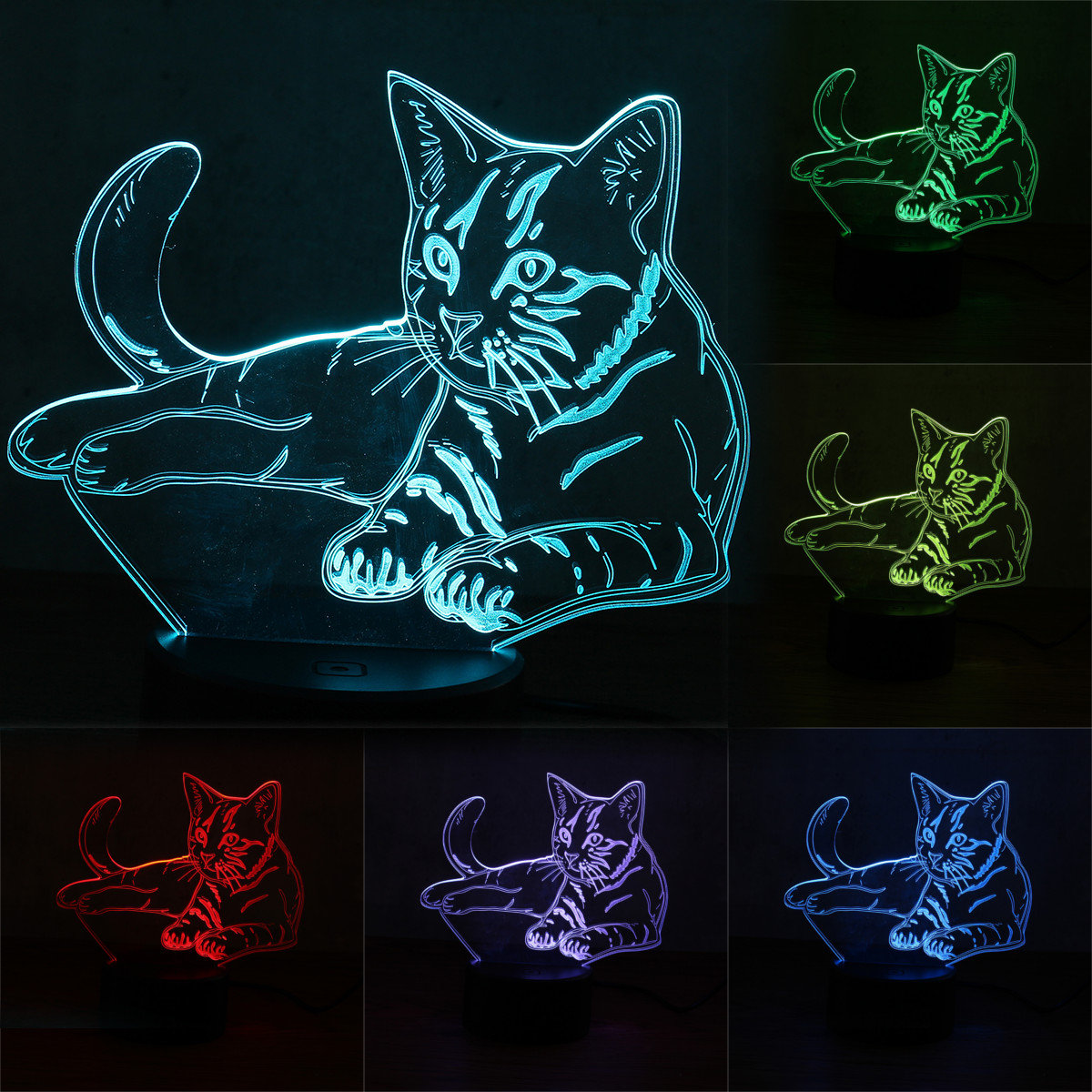 Cat Night Lights 3d Animal Cat Night Light 7 Color Change Led Table Lamp