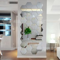 Hexagonal 3D Mirrors Wall Stickers Home Decor Living Room ...