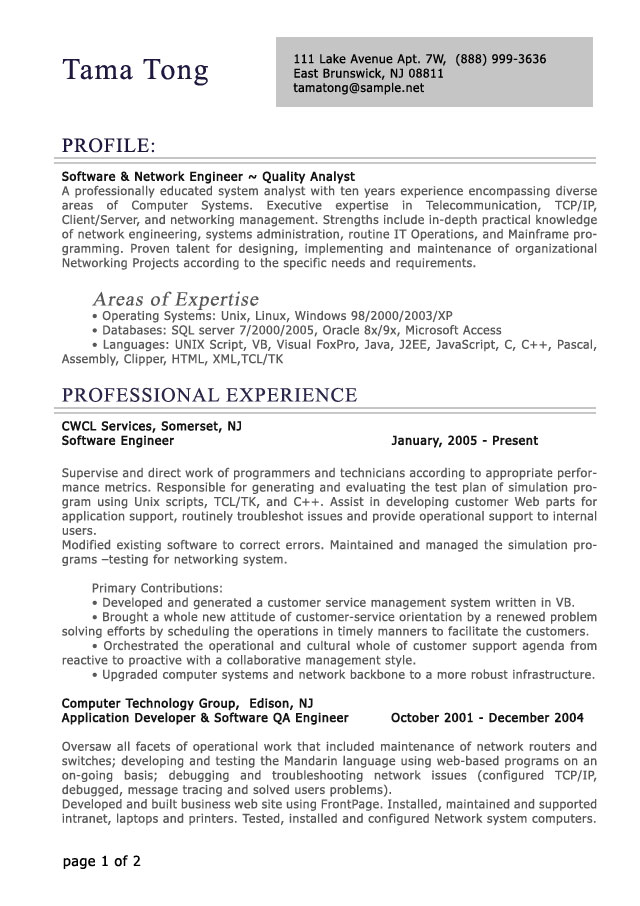 resumes for it professionals