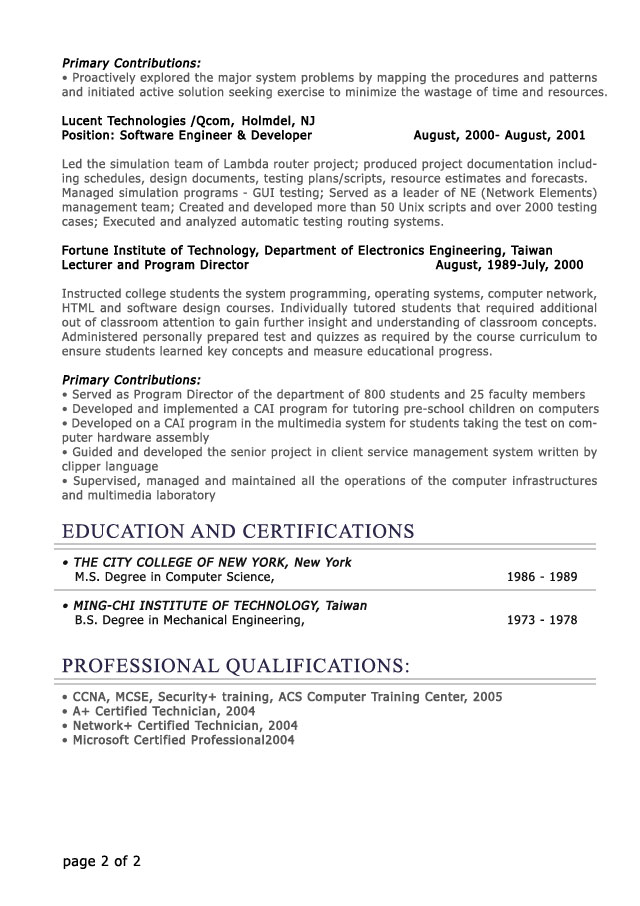 Professional Level Resume Samples - ResumesPlanet - profile in resume example