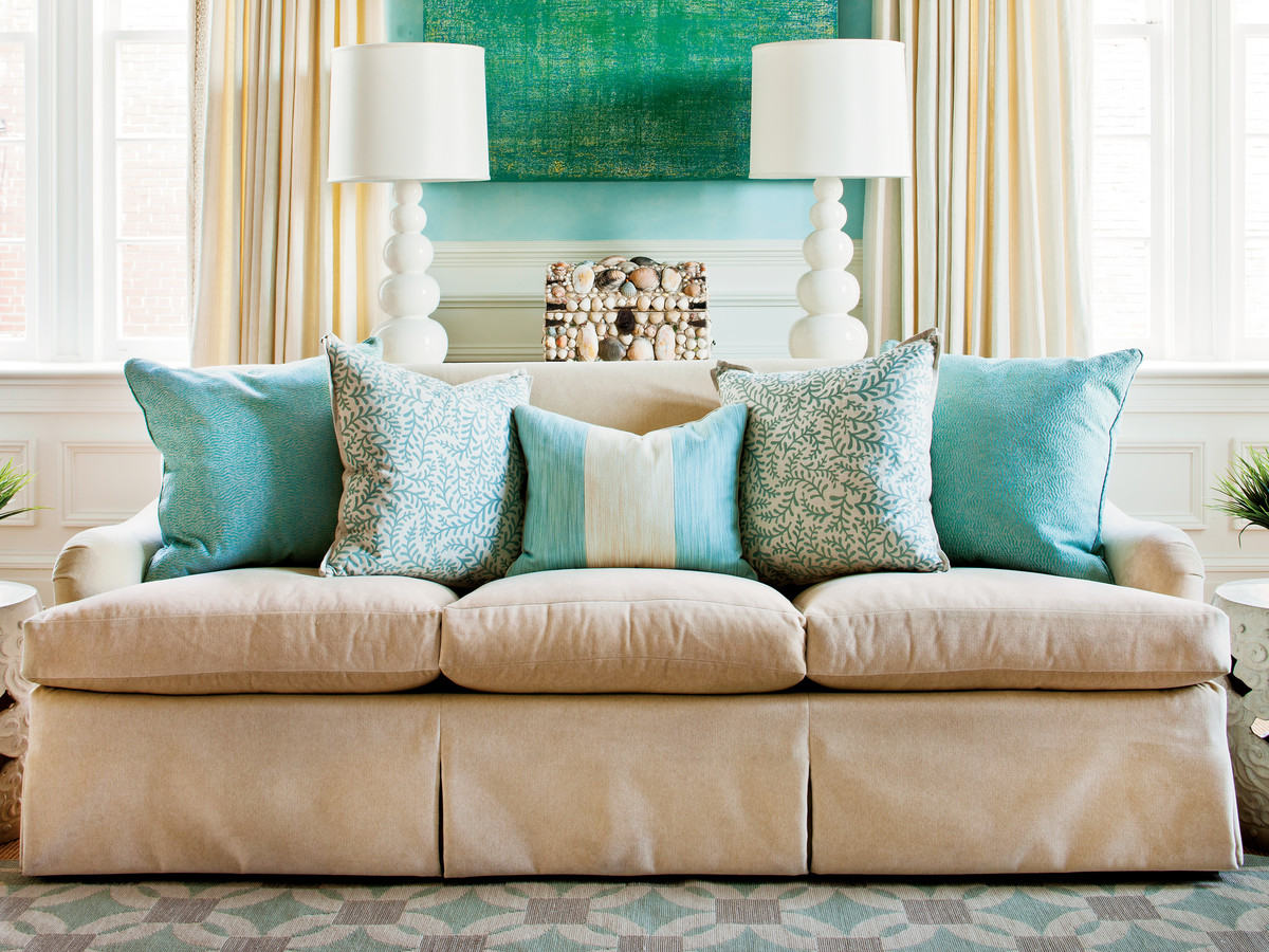 Nautical Sofa Throws How To Arrange Sofa Pillows Southern Living