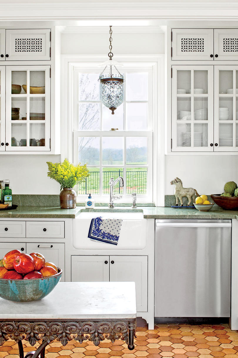 White Shaker Doors For Kitchen Cabinets With Oak Trim Kitchen Inspiration - Southern Living