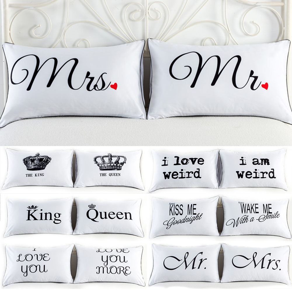 Biancheria Da Letto Ebay 2pcs Set Couples Pillow Case Letters Printed Pillowcases Bedding