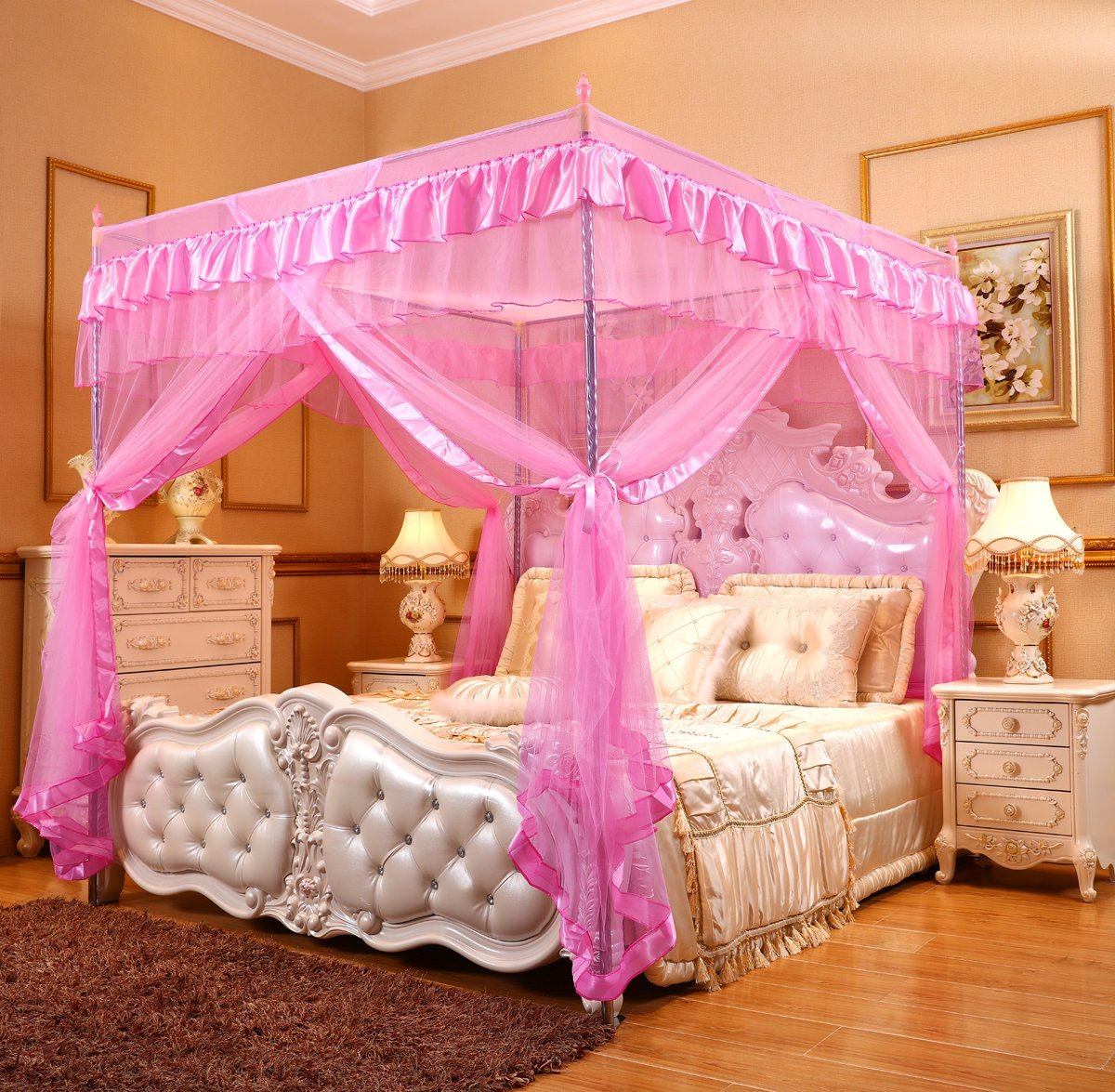 4post Bed Details About Pink Ruffled Four 4 Post Bed Canopy Netting Curtains Sheer Panel Corner Any Size