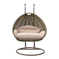 2 Person Wicker Egg Basket Swing Chair Patio Outdoor