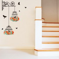 Flower Vine Bird Cage Wall Stickers Art Decal Home Decor ...