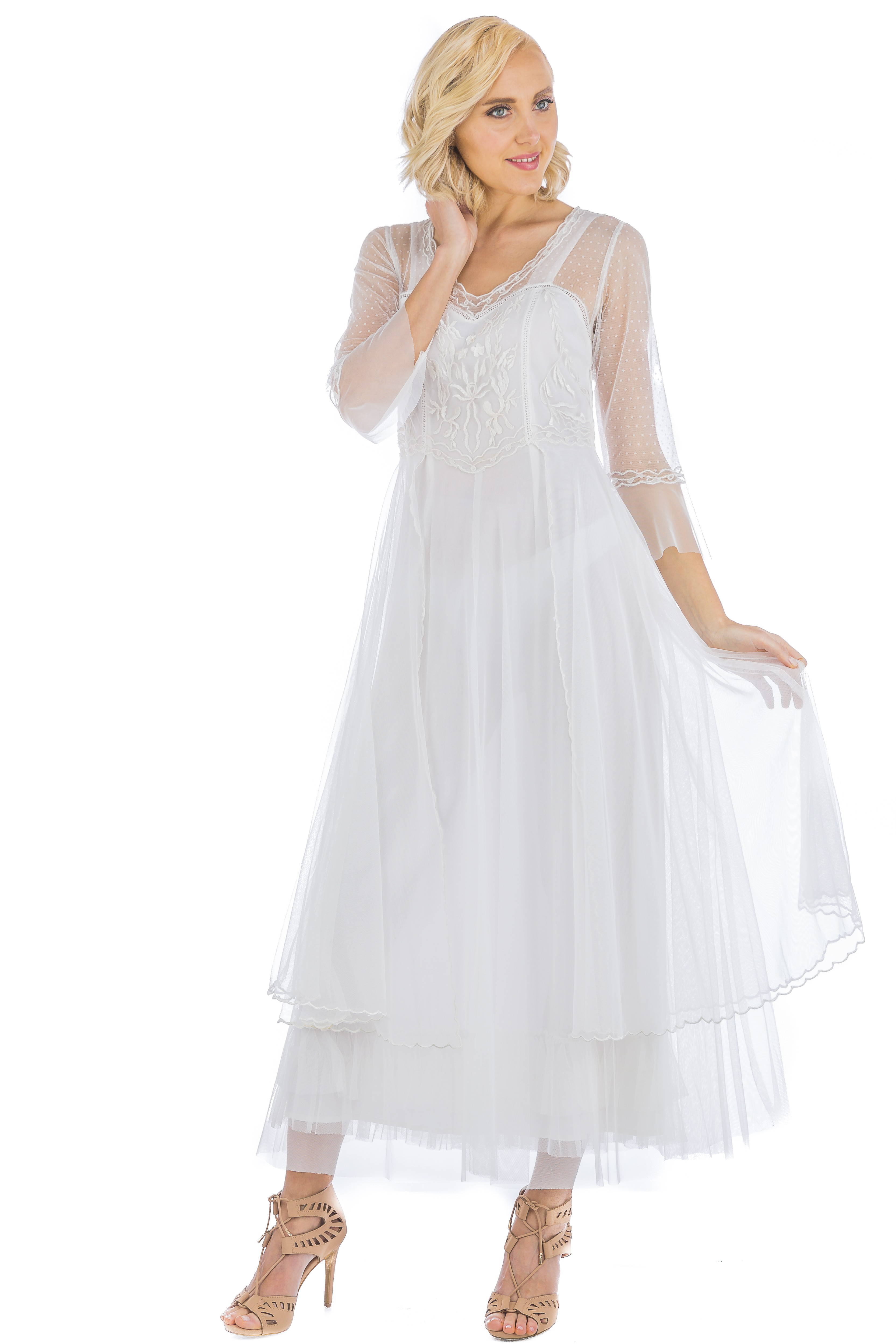 Viviane Vintage Vivian Cl 075 Vintage Style Wedding Gown In Ivory By Nataya
