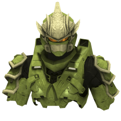 The upper body components of the Hayabusa armor in green color.