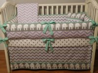 Grey & lilac/ Elephant Baby Bedding, Lilac Chevron, Crib ...