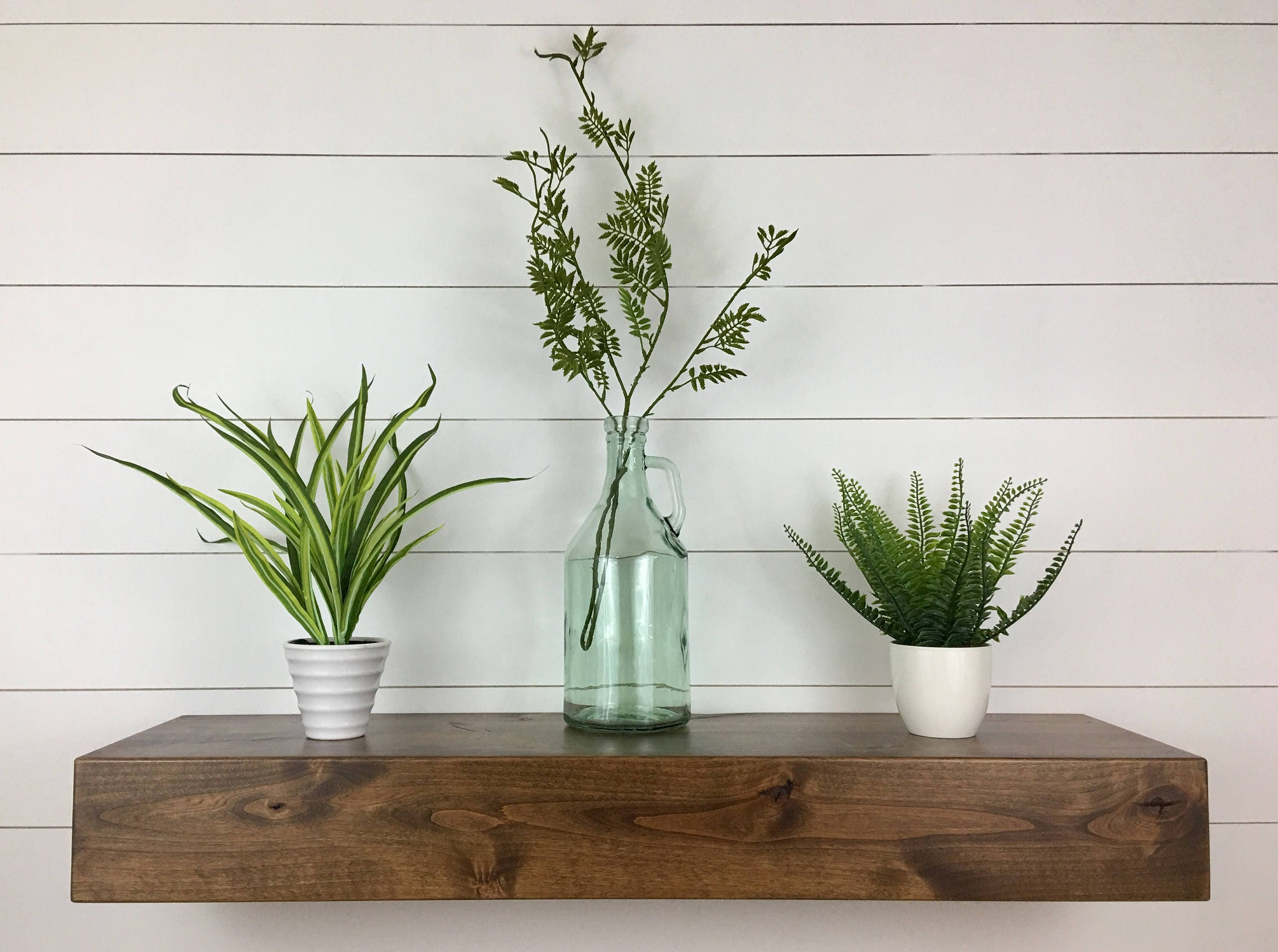 Set of Two Contemporary Rustic Deep Floating shelves