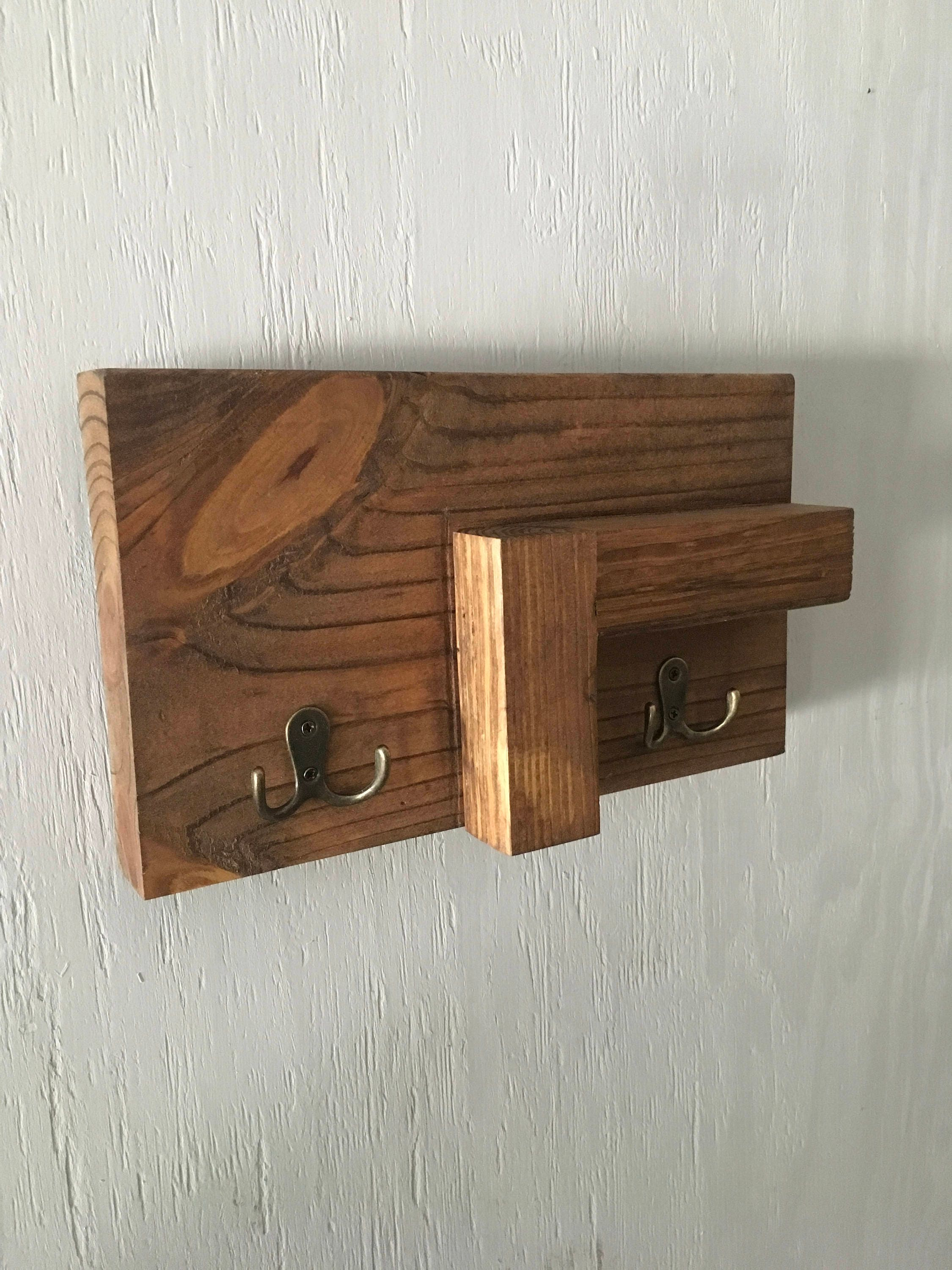 Wooden Key Holder With Shelf Cyber Monday Sale Key Shelf Wall Decor Leash Holder