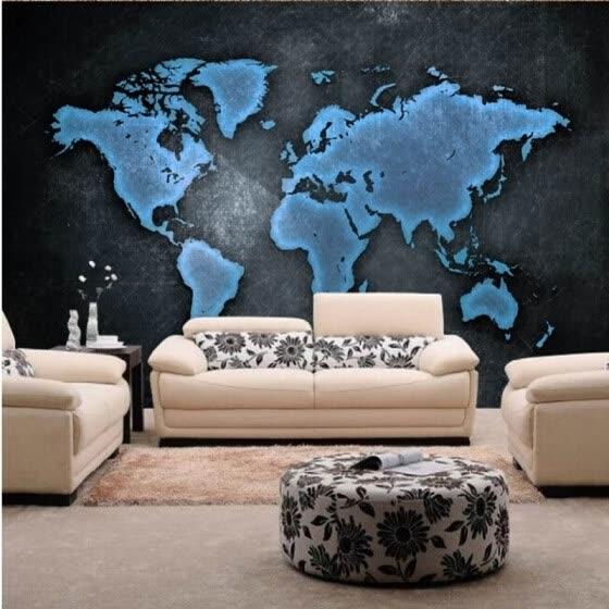 Shop Custom photo wallpaper Black textured wallpaper world map hotel
