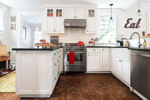 floor tiles built backs cozy kitchen light small eat kitchen design photos cork floors
