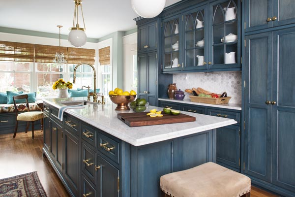 This Old House Kitchen Island Details Of The Remodeled Blue, White, And Wood Floor