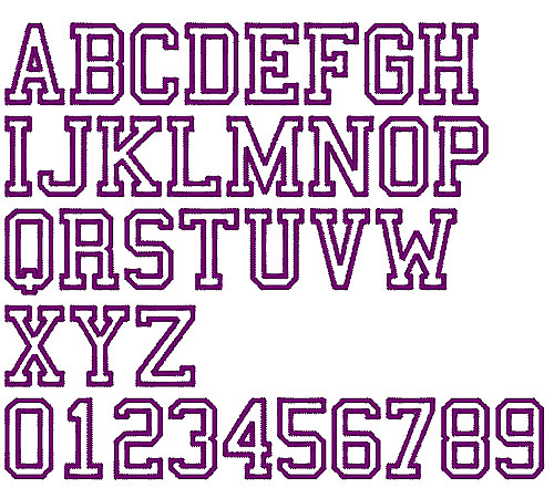 College Sports Outline Embroidery Font AnnTheGran