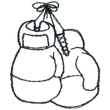 Outlines Embroidery Design Boxing Gloves Outline From