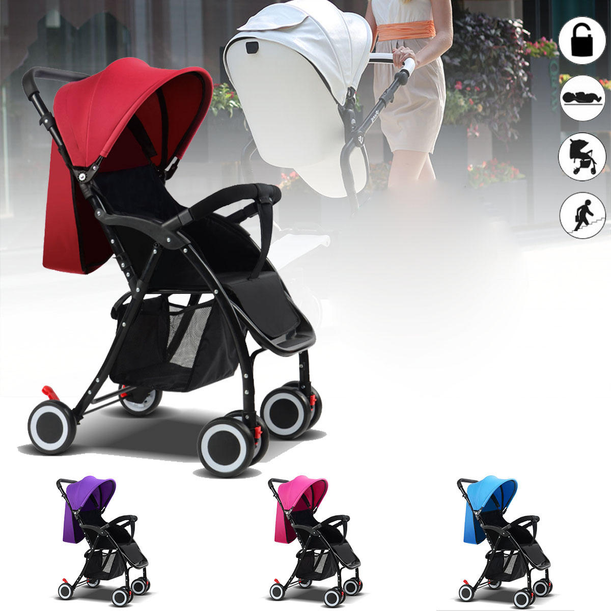 Lightweight Folding Pram Foldable Baby Kids Travel Stroller Newborn Infant Pushchair Buggy Pram Lightweight Baby Carriage