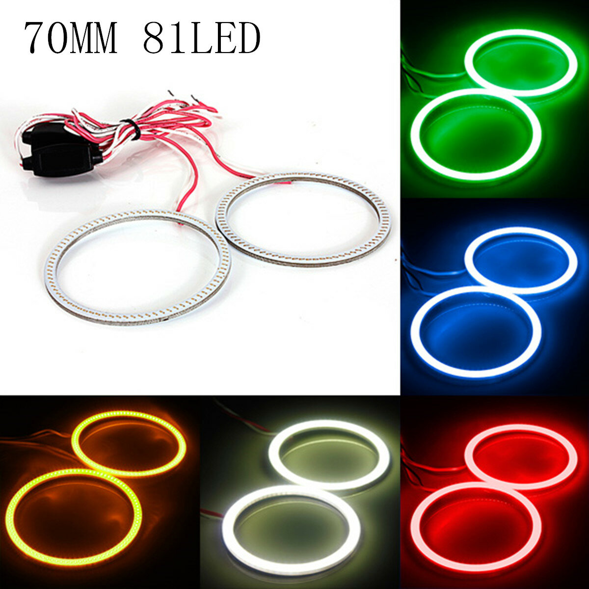 Küchenlampe Neon Ring 70mm Cob Led Angel Eyes Lights Lampe D Anneau Halo 12v 24v 300lm Pour Bmw