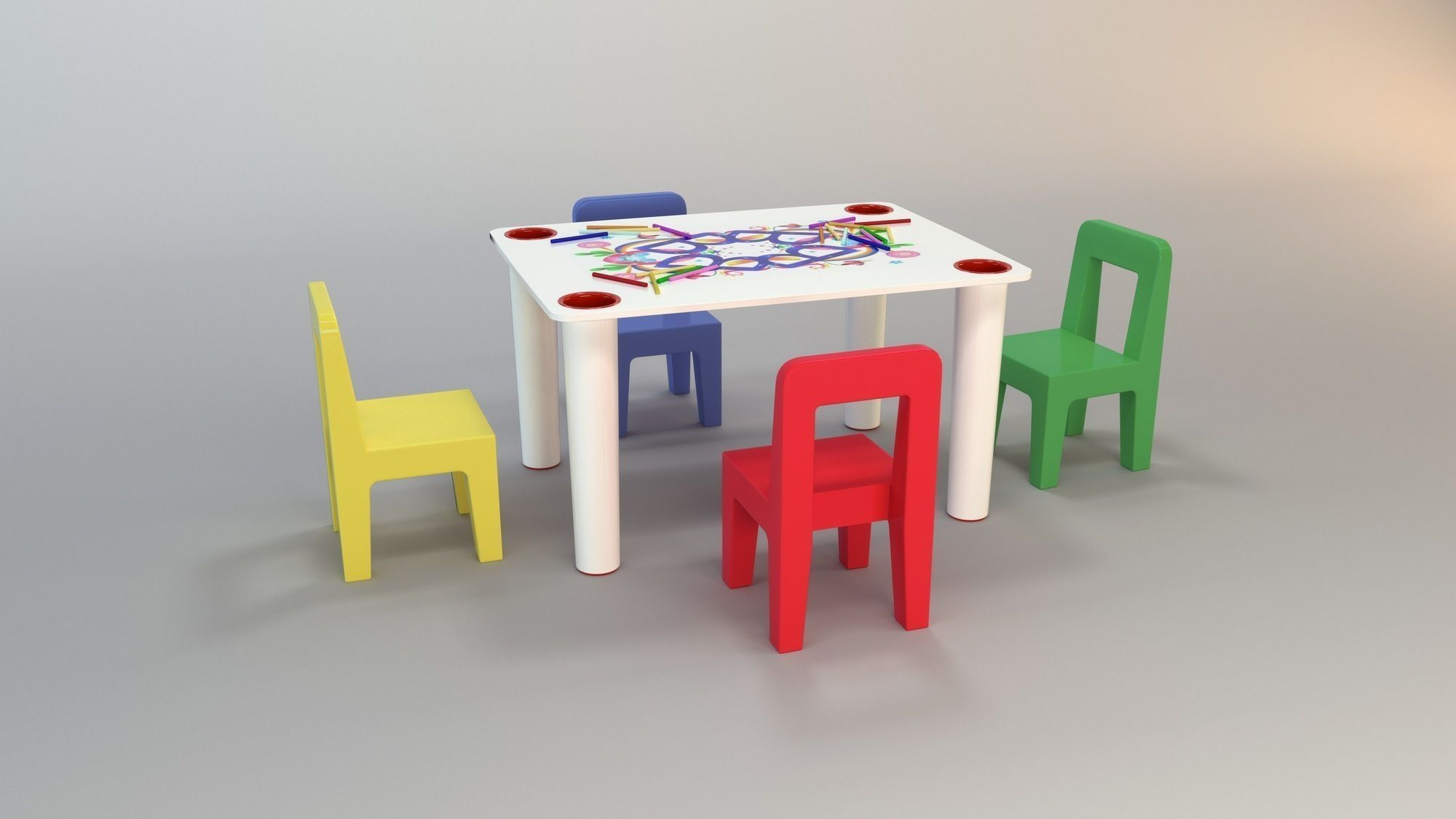 Childrens Play Table Child Play Table 3d Model Max Obj 3ds Fbx Cgtrader