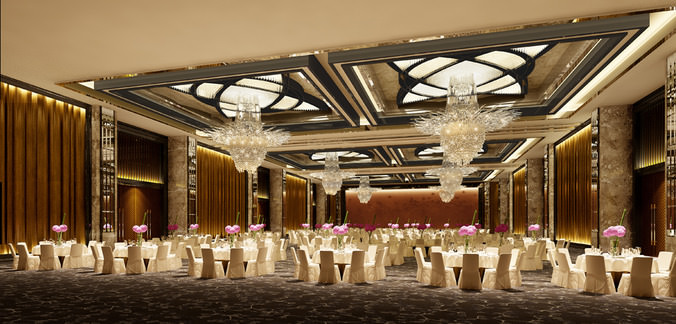 3d Wallpaper Feature Wall 3d Model Photo Real Wedding Hall Cgtrader