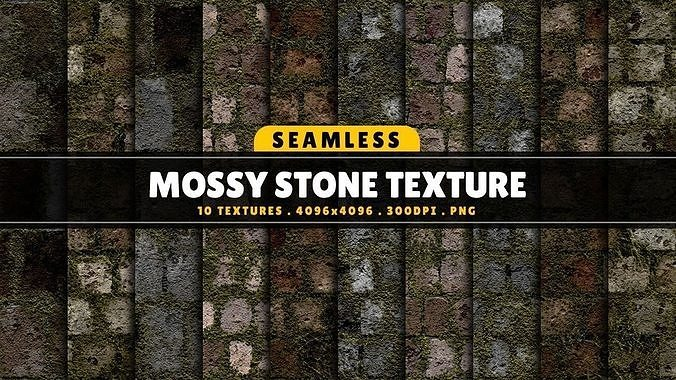 3D Texture Pack Seamless Mossy Stone Vol 02 CGTrader