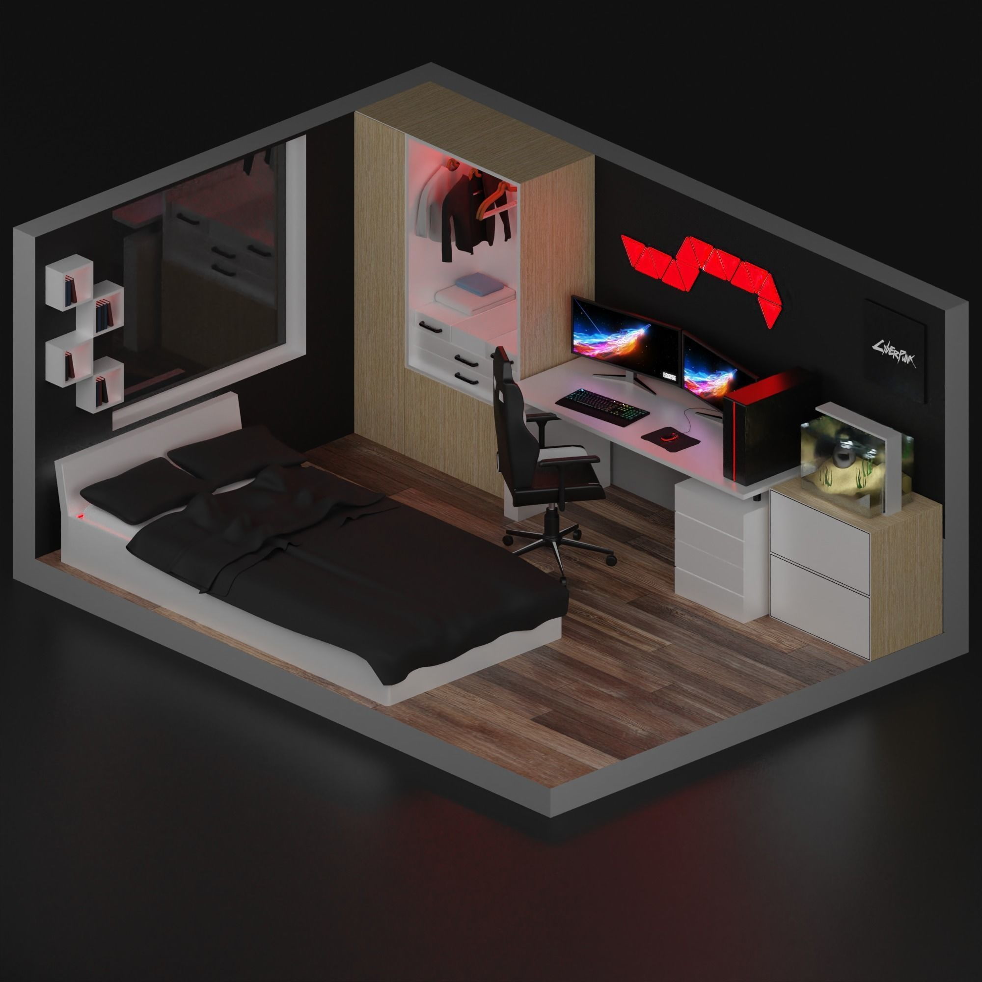3d Model Realtime Gaming Room Cgtrader