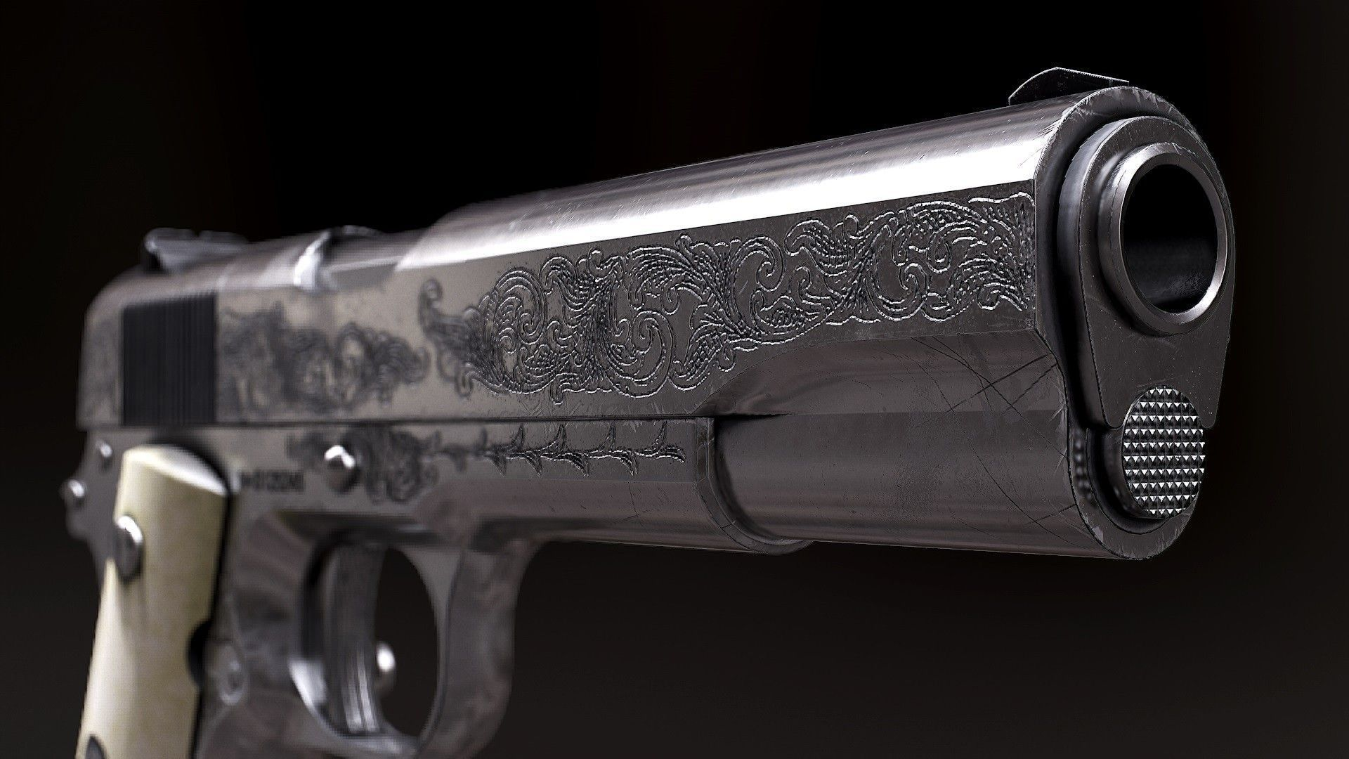 Wallpaper Supernatural 3d 3d Model Colt 1911 Black And Chrome Model And Textures