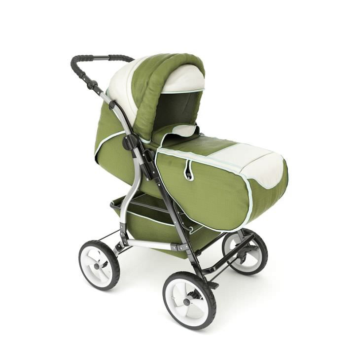 Carriage Type Strollers 3d Model Green Baby Stroller Cgtrader