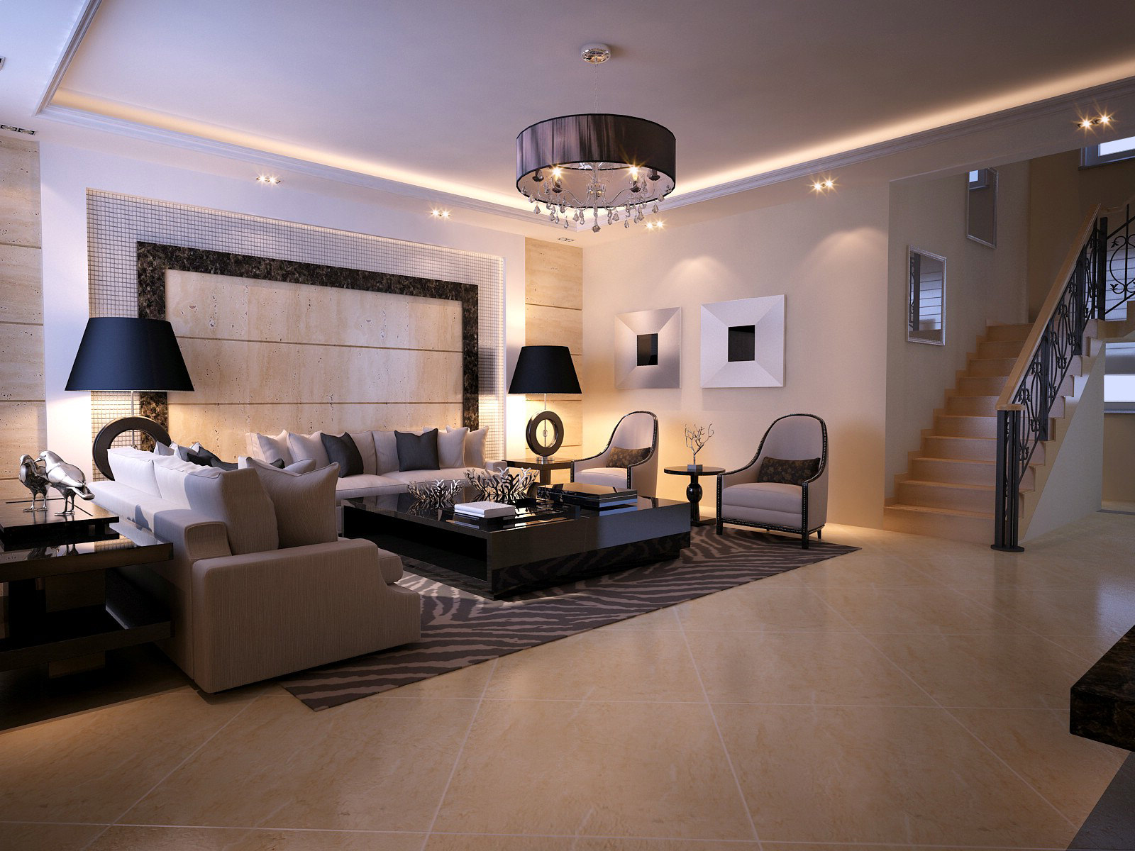 Modern Living Room With Fancy Lithing 3D Model MAX