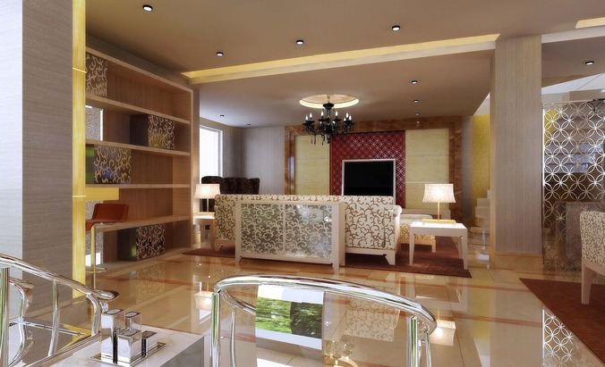 Modern Living Room With Marble Floor Decorated With Buddha St - living room statues