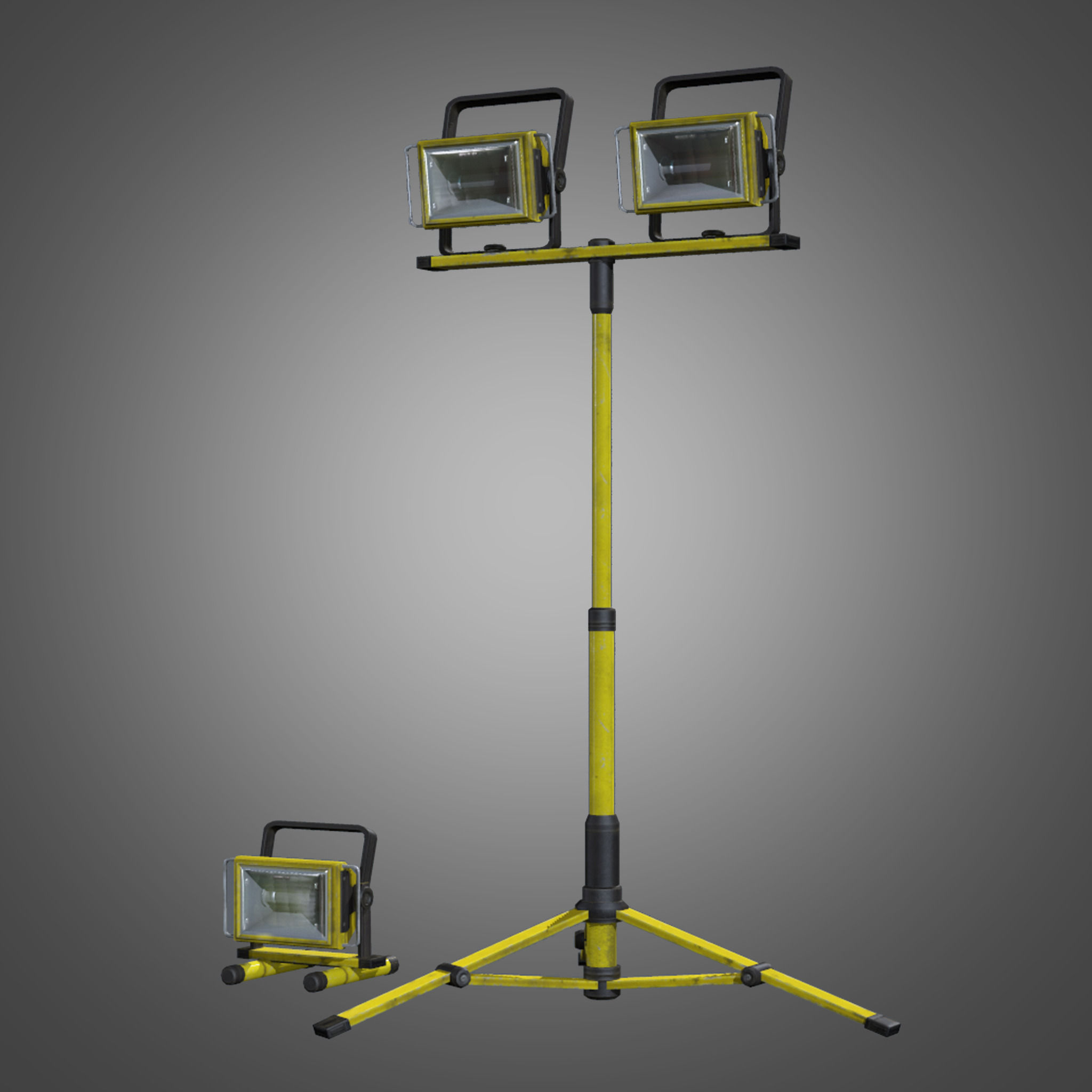Portable Lights 3d Model Portable Construction Light Set Pbr Game Ready