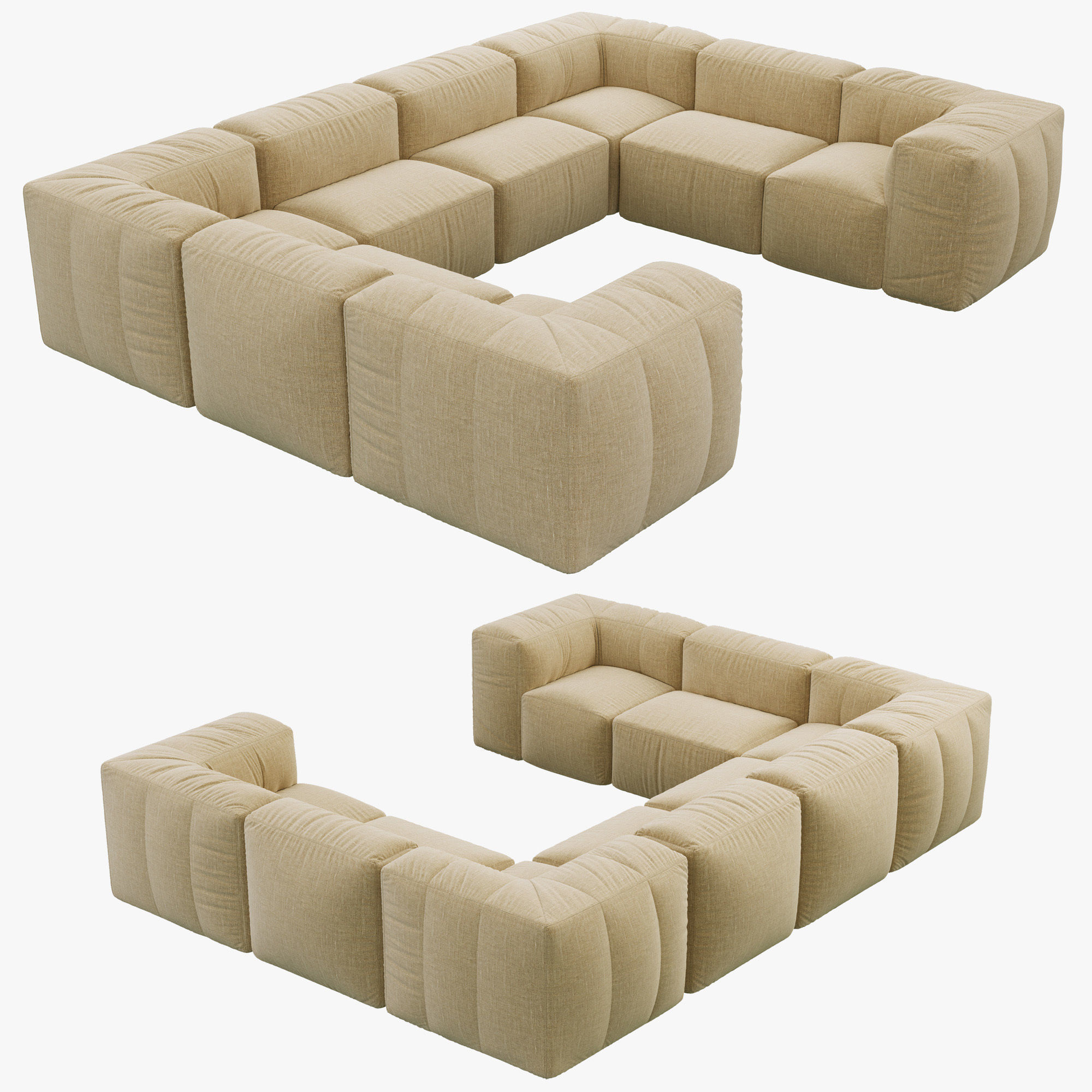 U Sofa Restoration Hardware Preconfigured Fulham Upholstered U Sofa 3d Model
