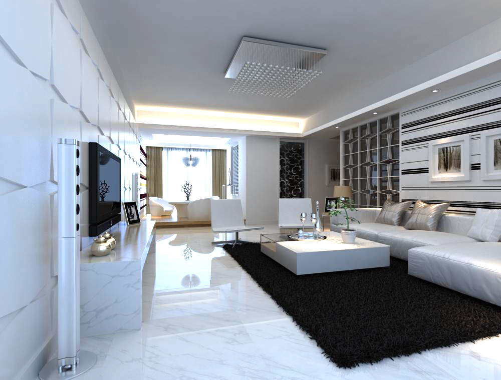 Fancy Living Room Interior with Carpet 3D Model MAX